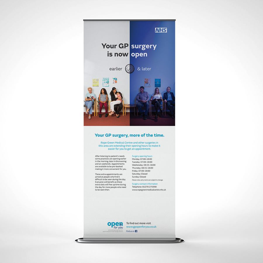 NHS Local GP opening house pull up banner by Cube Creative